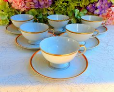 6 Vintage PMR Jaeger & Co German Porcelain Cups & Saucers ~ All White ~ Gold #PMRJaegerCo