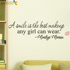 """Marilyn Monroe """"a smile is the best makeup any girl can wear"""" vinyl wall decal sticker decor **cute addiction to any bedroom! easy to remove Removable Wall Stickers, Vinyl Wall Stickers, Wall Decal Sticker, Wall Vinyl, Maquillage Marilyn Monroe, Marilyn Monroe Quotes, Marilyn Monroe Room, Vinyl Quotes, Vinyl Wall Sayings"""