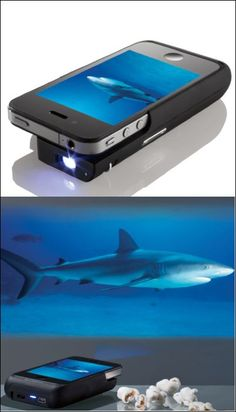 Cooler Geeks - iPhone projector attachment...what!? #geeky #coolthingstobuy #thatseasier