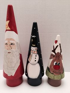 Hand painted Christmas Holiday Trio by DabaDos on Etsy