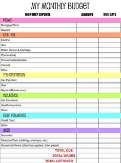 Free Printable Monthly Budget Worksheet  Monthly Budget