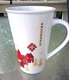 Collectible Starbucks Christmas Holiday 2013 Latte Mug White Red Gold Village #Starbucks