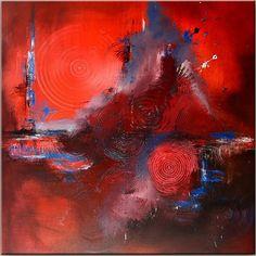 BURGSTALLER ORIGINAL XXL Gemälde Bilder Kunst Malerei abstrakt Leinwand rot HURI