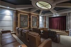 Art Deco Home Theater with Skylight, Exposed beam, Carpet, Crown molding, Doors Open - Midland