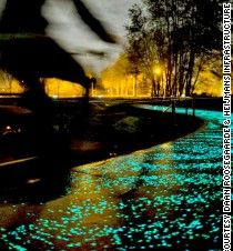 An artist in the Netherlands has created a brilliant tribute to Vincent van Gogh -- a bike path that glows in the dark.