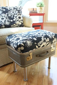 Find a suitcase to turn into an ottoman, with storage! #yard sale #garage sale #tag sale #recycle #upcycle #repurpose #redo #remake #thrift