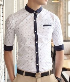 Casual Style Shirt Collar Stains Print Color Block Cuffs Half Sleeves Polyester … – Men's style, accessories, mens fashion trends 2020 Formal Shirts, Casual Shirts, Half Sleeve Shirts, Half Sleeves, Fashion Wear, Mens Fashion, Shirt Collar Styles, Camisa Formal, Look Cool