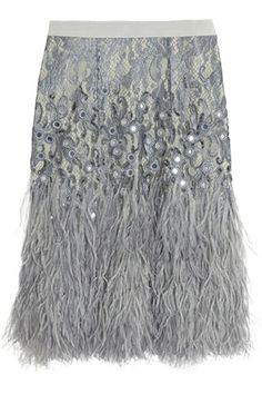 Matthew Williamson Feather-Trimmed Embellished Lace Skirt...OMG I want!!!!