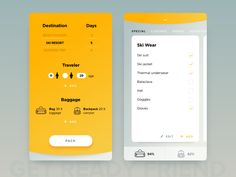 """01. FILTERS Choose destination, duration, travelers and type of baggage. """"Get Packed!» helps you to make a schedule of all items to bring with you.  02. PACKING CHECKLIST Items are sorted by bags t..."""