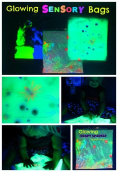 These GLOWING sensory bags are so cool!  They are easy to make, mess free, and great fun for babies and toddlers!
