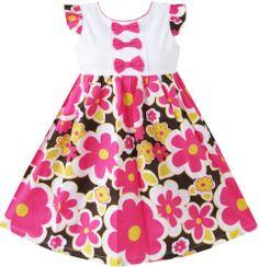Girls Dress Flower Print Bow Tie Party School Children Clothing Size 2-8 New