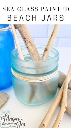 Do you like beach house décor? These Sea Glass Painted Beach Jars are a simple, inexpensive way to add beach inspired decoration into your home. This Mason jar craft requires only a handful of materials, most of which you likely have at home right now. Have fun accessorizing these beach Mason jars with driftwood, stones, shells, sea glass, sand dollars, coral, plants, and sand collected from your favorite beach. #beachhousedecor #masonjarcrafts #masonjarcenterpieces #masonjarprojects Easy Diy Crafts, Jar Crafts, Bottle Crafts, Diy Craft Projects, Home Crafts, Mason Jar Gifts, Mason Jar Diy, Beach Jar, Mason Jar Breakfast