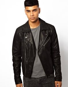 Leather Biker Jacket; by Solid