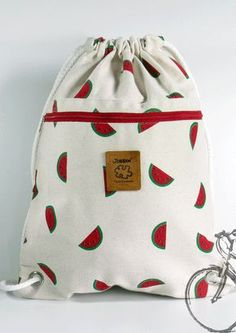 Watermelon Backpack, Canvas bag, 2 pocket inside + cotton fabric lining or waterproof fabric lining Cotton Bag, Cotton Fabric, Wet Bag, Cute Bags, Waterproof Fabric, Handmade Bags, Handmade Bracelets, Purses And Bags, Coin Purses