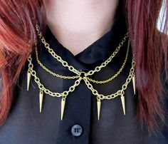 Multi Spike Necklace: I kind of like the Goth-meets-prim look of this. It's what Wednesday Addams would have worn to prom.