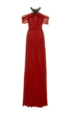 Embroidered Silk Chiffon Halter Gown by J. MENDEL for Preorder on Moda Operandi