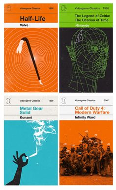 Olly Moss, book covers of video games, based on the classic Penguin Marber Grid.