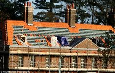 Now: The roof tiles of Anmer Hall are being replaced as renovation and improvement works continue, before The Duke and Duchess of Cambridge ...