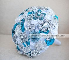 Brooch bouquet. Teal White and silver wedding by MagnoliaHandmade, $200.00