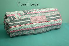Nap Mat with Minky Blanket attached and personalized....Four Loves on Etsy, $70.00