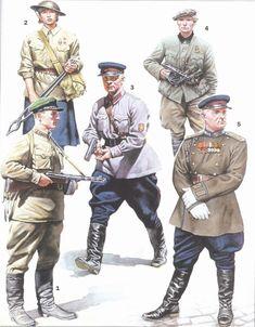 ARMATA ROSSA - 1- Sargento de la Guardia Fronteriza armado con subfusil.(1941-42)  2-Soldado del grupo de Autodefensa Aérea (1941-42)   3-Capitán de las tropas de la NKVD (1941-42)   4- Partisano con guerrera alemana capturada (1943-44)  5-Coronel de la NKVD con uniforme completo (1945)
