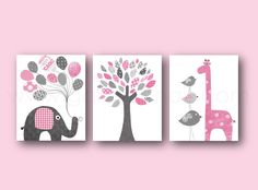 Lot de 3 illustrations 30x40cm pour chambre d'enfant et bebe, art decor , rose et gris art