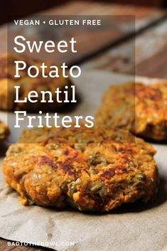 Dec 2019 - Sweet potato lentil fritters are an easy weeknight kid friendly dinner! They are lightly spiced with smoked paprika and easily customizable to your tastes. Baby Food Recipes, Cooking Recipes, Kid Recipes, Recipes Dinner, Lentil Patty, Sweet Potato Fritters, Sweet Potato Patties, Lentil Burgers, Vegetarian Recipes Easy