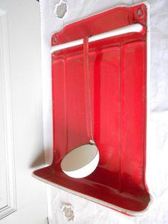 Vintage portador De Utensilios Rack / Soporte En Color Rojo + Cuchara