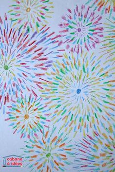 Voici un projet rapide à mener, un projet qui ne nécessite pas beaucoup de matériel et qui peut occuper longuement les enfants, puisque l'air de rien, faire des petits traits, ça prend du temps ! Le principe est simple, et l'on obtient facilement des feux d'artifice colorés et jolis. C'est une activité à faire faire à partir de 7/8 ans. Matériel nécessaire pour dessiner des feux d'artifice avec des crayons de couleur Normalement, vous devriez avoir tout sous la main puisqu'il faut :  des…