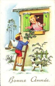 Bonne année ! Christmas Mood, Christmas And New Year, Vintage Christmas, Vintage Happy New Year, Open Window, New Year Card, Xmas Cards, Vintage Postcards, Vintage Children