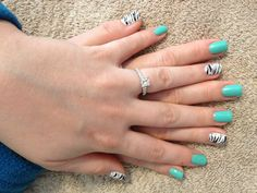 Gel zebra manicure nails