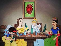 Oh you've never imagined what would happen if Prince Eric and Prince Phillip were in love? Or if the Disney princesses got drunk with Frida Kahlo? Dark Disney, Disney Love, Disney Art, Disney Pixar, Disney Girls, Cartoon Cartoon, Cartoon Images, Heros Disney, Disney Characters