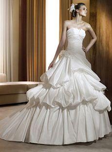 Puffy Ball Gown Sweetheart Floor-length Taffeta White Wedding Dresses