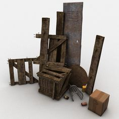Max Junk Wood Crate - 3D Model