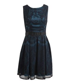 Look at this #zulilyfind! Peacock & Black Lace Ava Dress #zulilyfinds