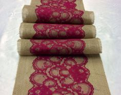 Burlap Lace Table Runner with Burgundy/Wine Lace, Wide x long, Vintage, Burgundy Wedding Decor, Navy Weddings (maroon wedding ideas) Maroon Wedding, Burgundy Wedding, Fall Wedding, Rustic Wedding, Dream Wedding, Wedding Vintage, Wedding Ideas, Wedding Burlap, Wedding 2017