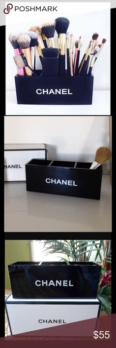 Chanel 3 Slot Holder Not sold in stores Chanel VIP PROMO Item. Approx 7L x 2W x 3H. Hold makeup brushes, glosses, foundation, and lip sticks. Features 3 compartments to organize make-up and/or brushes. You could even take to the office and hold your pens and supplies! CHANEL Makeup Brushes & Tools