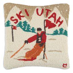 Ski Utah Hand Hooked Wool Pillow