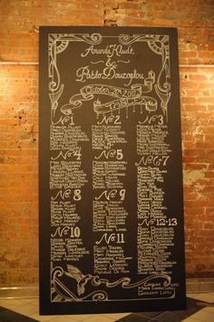 Chalkboard Wedding Reception Table Assignments - such a nice change up compared to doing the same old fashioned place cards. Casual Wedding, Trendy Wedding, Fall Wedding, Our Wedding, Wedding Stuff, Wedding Order, Wedding 2015, Wedding Season, Wedding Things