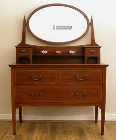 Antique English Mahogany Edwardian Inlaid Dressing Table With Mirror ...