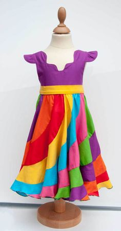 A Rainbow Kona Cotton Peppermint Swirl Dress