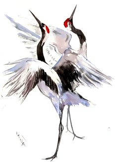Japanese Crane artwork painting two cranes original Japanese Bird, Japanese Crane, Watercolor Feather, Watercolor Paintings, Crane Drawing, Exotic Art, Minimalist Painting, Illustration Art, Illustrations