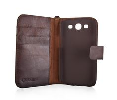 Samsung Galaxy S3 Luxury Leather Wallet Smartphone case in Vintage Brown