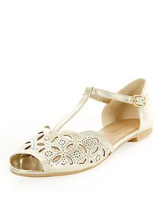 Gold (Gold) Wide Foot Gold Cut Out T-Bar Shoes  | 318533893 | New Look