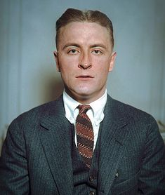 """colorized by Jecinci // F. Scott Fitzgerald was an American fiction writer, whose works helped to illustrate the flamboyance and excess of the Jazz Age. While he achieved popular success, fame, and fortune in his lifetime, he did not receive much critical acclaim until after his death. Perhaps the most notable member of the """"Lost Generation"""" of the 1920s, Fitzgerald is now widely regarded as one of the greatest American writers of the 20th century // source: facebook.com/jecinci Scott And Zelda Fitzgerald, Do Men, Men Wear, 1920s Men, Famous Novels, Writers And Poets, People Of Interest, Book Writer, Portraits"""