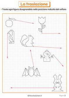 Schede didattiche sulla traslazione 1Esercizi sulla traslazione 2 Graph Paper Art, Teaching Math, Pattern Art, Pixel Art, Worksheets, Diagram, Bullet Journal, Clip Art, Coding