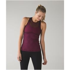 lululemon Ready, Set, Sweat Tank ($64) ❤ liked on Polyvore featuring activewear, activewear tops and lululemon