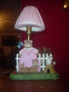 Mummy bear lamp for baby girl room decor Baby Girl Room Decor, Baby Room, Kids Lamps, Wood Ideas, Table Lamp, Design Ideas, Rooms, Bear, Crafts
