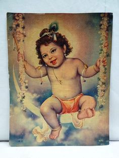 Old Lord Bal Krishna on Moon Swing Vintage Lithograph Print beautiful Genuine