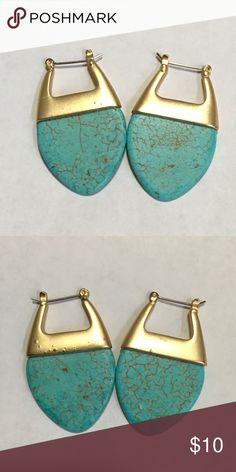 """Turquoise Gold Earrings. 1.75"""" Turquoise and Gold Earrings. 1.75"""". Faux. Comes with a new Earring card. Jewelry Earrings"""